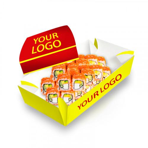 Суши, коробка крышка/дно 130х100х50 мм цветная с логотипом