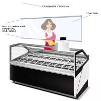 Защитный пластиковый экран 1000х700 мм  с дюралевым профилем