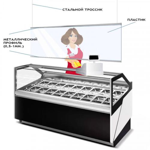 Защитный пластиковый экран 1000х800 мм с дюралевым профилем — заказать
