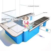 Защитный пластиковый экран П-образный с дюралевым профилем