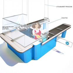 Защитный пластиковый экран П-образный загнутый с металлическим профилем